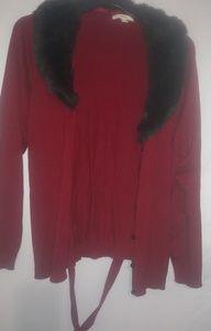 Red Cardigan Brown Faux Fur Collar 1X Plus